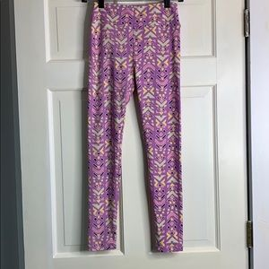 LuLaRoe purple patterned leggings OS NWT
